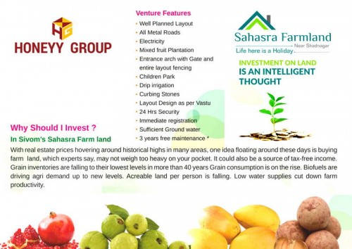 Sahasra Farmland project details - Shadnagar